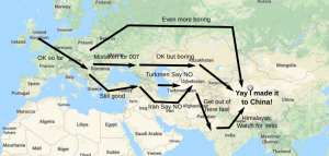 Cycilng through Eurasia isn't so simple: wars, governments, and mountains get in your way