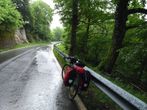 Having one of my of-,bike sulks while crossing the Pyrenees