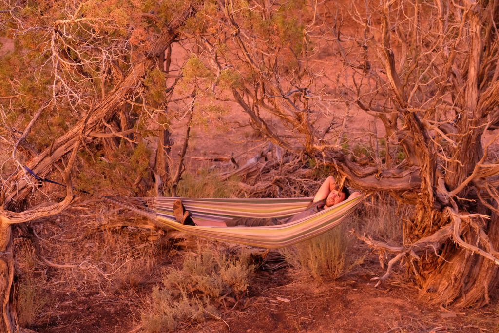 Relaxing in a hammock the Utah desert