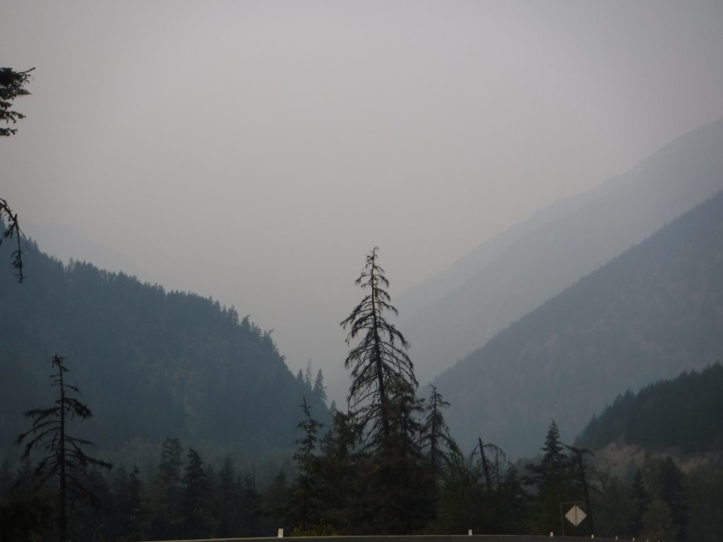 Wildfires were burning as I rode through British Columbia. This was so I saw on many days until Prince George