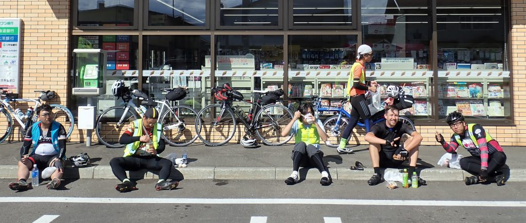 Japanese Audax control stop - Spot the foreigner