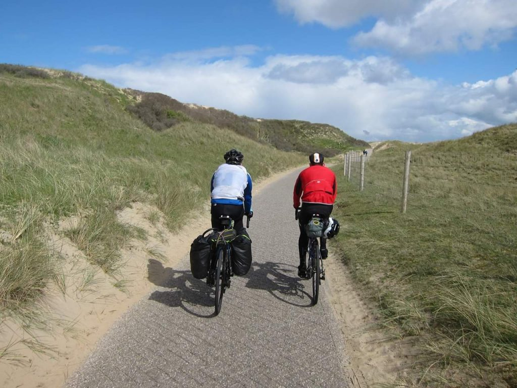 Cycling through the sand dunes on the North Holland coast