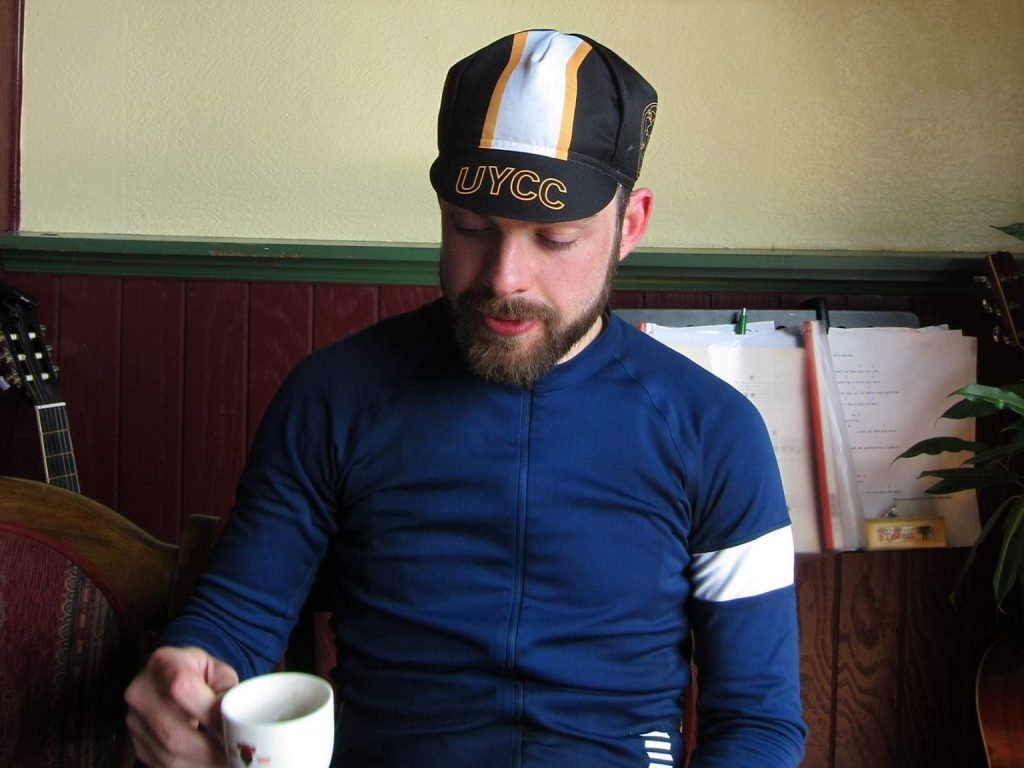 Stopping for coffee mid cycle tour