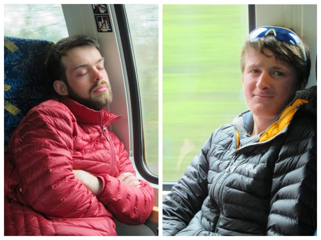 Tired cyclists sleeping on trains