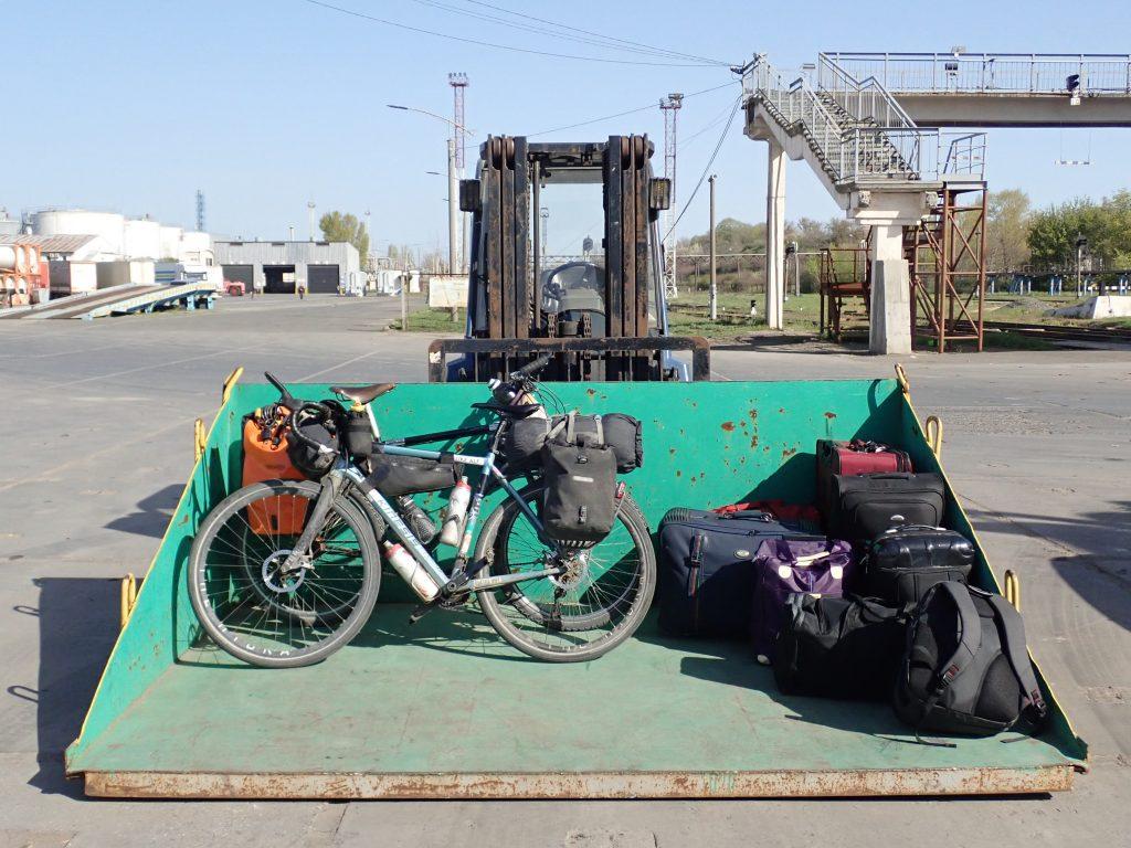 Bike in a JCB scoop, Odessa docks, Ukraine